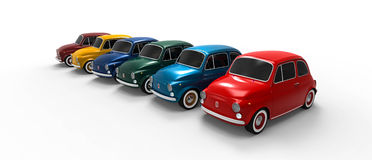 Fiat 500 car line. A line of six cars in different colors Royalty Free Stock Images