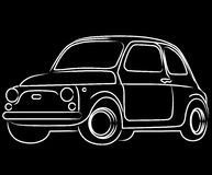 Fiat Cinquecento car. Illustration of an old vintage italian car, black background Stock Photo