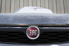 Fiat company logo on car in front of dealership on January 20, 2017 in Prague, Czech republic Royalty Free Stock Images