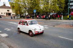 Fiat 600 D on first of May parade in Sastamala. A classic Fiat 600 D from the year 1965 on the traditional First of May old vehicle parade in Sastamala, Finland stock images