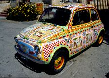 Fiat 500 decorated in Sicilian style royalty free stock photos