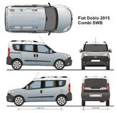 Fiat Doblo Combi LWB 2015. Commercial passenger van detailed drawing, liftgate rear door Royalty Free Stock Photos