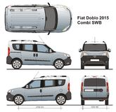 Fiat Doblo Combi SWB 2015. Commercial passenger van, Rear Swing Doors, detailed drawing Stock Photography
