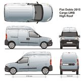 Fiat Doblo Maxi Cargo High Roof 2015. Delivery van, Rear Swing Doors, detailed drawing Royalty Free Stock Photography