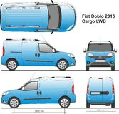 Fiat Doblo Maxi Cargo 2015. In scale 1:10 Ai - format for use in advertising on transport, detailed drawing Stock Photography