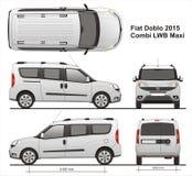 Fiat Doblo Maxi Combi LWB 2015 Images libres de droits