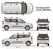 Fiat Doblo Maxi Combi LWB 2015 Royalty Free Stock Photos