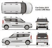 Fiat Doblo Maxi Combi LWB 2015. Commercial passenger van, liftgate rear door, detailed drawing Royalty Free Stock Photos