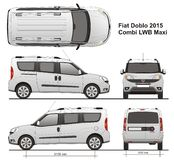 Fiat Doblo Maxi Combi LWB 2015. Commercial passenger van, Rear Swing Doors Royalty Free Stock Images