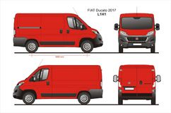 Fiat Ducato Cargo Delivery Van 2017 L1H1 Blueprint. Fiat Ducato Cargo Delivery Van 2017 L1H1 Scale 1:10 detailed template in AI Format Stock Image