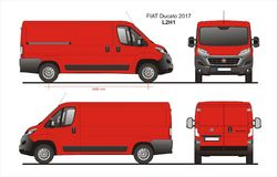 Fiat Ducato Cargo Delivery Van 2017 L2H1 Blueprint. Fiat Ducato Cargo Delivery Van 2017 L2H1 Scale 1:10 detailed template in AI Format Royalty Free Stock Images