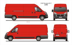 Fiat Ducato Cargo Delivery Van 2017 L4H2 Blueprint. Fiat Ducato Cargo Delivery Van 2017 L4H2 Scale 1:10 detailed template in AI Format Stock Photography