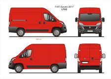 Fiat Ducato Cargo Delivery Van 2017 L1H2 Blueprint. Fiat Ducato Cargo Delivery Van 2017 L1H2 Scale 1:10 detailed template in AI Format Royalty Free Stock Photography