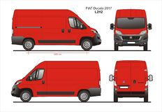 Fiat Ducato Cargo Delivery Van 2017 L2H2 Blueprint. Fiat Ducato Cargo Delivery Van 2017 L2H2 Scale 1:10 detailed template in AI Format Stock Images