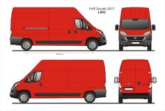 Fiat Ducato Cargo Delivery Van 2017 L3H3 Blueprint. Fiat Ducato Cargo Delivery Van 2017 L3H3 Scale 1:10 detailed template in AI Format Stock Photography