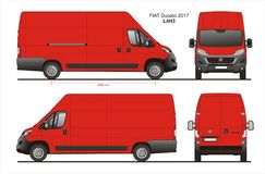 Fiat Ducato Cargo Delivery Van 2017 L4H3 Blueprint. Fiat Ducato Cargo Delivery Van 2017 L4H3 Scale 1:10 detailed template in AI Format Royalty Free Stock Image