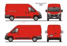 Fiat Ducato-de Bestelwagen 2017 L2H2 Blauwdruk van de Ladingslevering Stock Afbeeldingen