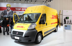 Fiat Ducato DHL Delivering Van Royalty Free Stock Photography