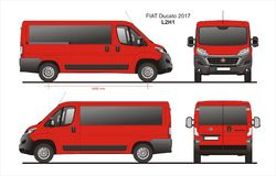 Fiat Ducato Passenger Van 2017 L2H1 Blueprint. Fiat Ducato Passenger Van 2017 L2H1 Scale 1:10 detailed template in AI Format Royalty Free Stock Images