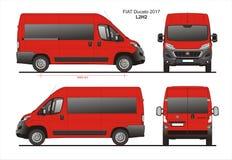 Fiat Ducato Passenger Van 2017 L2H1 Blueprint. Fiat Ducato Passenger Van 2017 L2H1 Scale 1:10 detailed template in AI Format Stock Images