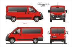 Fiat Ducato Passenger Van 2017 L1H1 Blueprint. Fiat Ducato Passenger Van 2017 L1H1 Scale 1:10 detailed template in AI Format Royalty Free Stock Photos