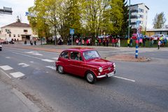 Fiat 600 on first of May parade in Sastamala. A classic Fiat 600 on the traditional First of May old vehicle parade in Sastamala, Finland, on May 1st 2019 royalty free stock image
