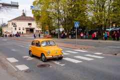 Fiat 600 on first of May parade in Sastamala. A classic Fiat 600 from the year 1965 on the traditional First of May old vehicle parade in Sastamala, Finland, on royalty free stock photography