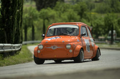 Fiat 500 Giannini. A Fiat 500 Giannini attends the 27th edition of Camucia Cortona, a competition race of hill-climb for hystorical cars valid for CSAI italian Royalty Free Stock Image