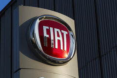 Fiat group company logo on Czech dealership building on January 20, 2017 in Prague, Czech republic. PRAGUE, CZECH REPUBLIC - JANUARY 20: Fiat group company logo Royalty Free Stock Photos