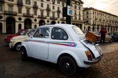 Fiat 500 klassikerbil i Turin Royaltyfri Bild