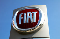 Fiat logo. Fiat Shop  . Fiat Automobiles S.p.A. is an Italian automaker which produces Fiat branded cars, and is the largest automobile manufacturer in Italy Stock Photography