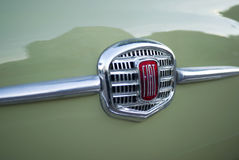 FIAT logo on Classic car. Milan, Italy - February 20, 2016: Close up detail of FIAT logo on vintage car Stock Photos