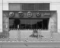 Fiat Mirafiori Chrysler Automobiles (FCA) car factory in Turin i. TURIN, ITALY - CIRCA SEPTEMBER 2018: Fiat Chrysler Automobiles (FCA) Mirafiori car factory for royalty free stock photography