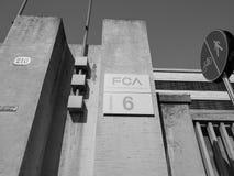 Fiat Mirafiori Chrysler Automobiles (FCA) car factory in Turin i. TURIN, ITALY - CIRCA SEPTEMBER 2018: Fiat Chrysler Automobiles (FCA) Mirafiori car factory for royalty free stock image