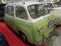 Fiat 600 Multipla. Padova, Italy - October 26, 2013: A vintage model of the Fiat 600 Multipla on display for the show of historic MPV Royalty Free Stock Photography