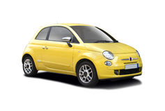 Fiat new 500. New yellow Fiat 500 isolated on white Stock Image