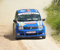 Fiat Panda rally car. Clemente Massimo Magri of  Italy  with  Viviano Cavagna (co-pilote)    drives his Fiat Panda during the third stage of the 2010 San Stock Image