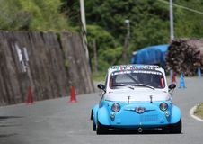 Fiat 500 prototype. During speed racing uphill Favale Castle that took place at Favale di Malvaro on 3 June 2018 Stock Image