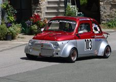 Fiat 500 prototype. During speed racing uphill Favale Castle that took place at Favale di Malvaro on 3 June 2018 Stock Photos