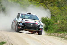 Fiat Punto Abart rally car. Riccardo Scandola of  Italy  with  Massimo leso (co-pilote)    drives his Fiat Punto Abarth  during the sixth stage of the 2010 San Stock Photography