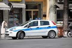 Fiat Punto III Hatchback Italian Police In The City Center of Sa royalty free stock images