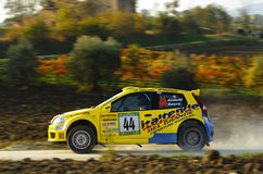 Fiat Punto rally car. The Fiat Punto  driven by Fabrizio Andolfi  during the 4th edition of Rally Ronde Balcone delle Marche, november 13 , 2011 Royalty Free Stock Photo