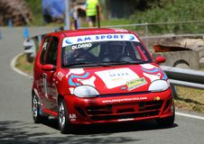 Fiat 600 race car. During speed racing uphill Favale Castle that took place at Favale di Malvaro on 3 June 2018 stock image