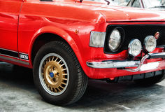 Fiat 128 rally red color Stock Images