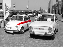 Fiat retro cars - selective color isolation Royalty Free Stock Photo