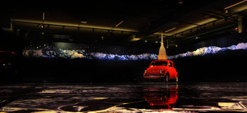 Fiat 500 rocznika samochód Zdjęcia Royalty Free