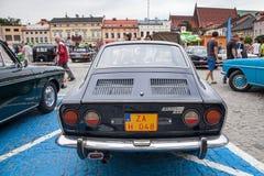 Fiat sport 750, bakre sikt, retro designbil Utställning av vintaen Royaltyfria Foton