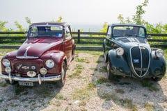 Fiat topolino cars. VERONA, ITALY - SEPTEMBER 27: Topolino cars. Topolino Autoclub Italia organizes a gathering on Lake Garda Sunday, September 27, 2014. Cars Stock Photography