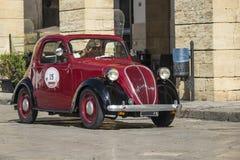 Fiat topolino on theroad. Rare beautiful fiat topolino travelling Royalty Free Stock Photography