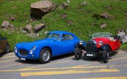 Fiat-u. Morgan-laufende Autos Lizenzfreie Stockbilder